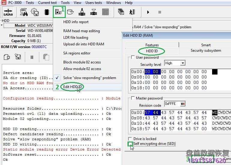 pc-3000-for-hdd西部数据硬盘western-digital-如何解决ram中的sed问题 PC-3000 for HDD西部数据硬盘Western Digital 如何解决RAM中的SED问题