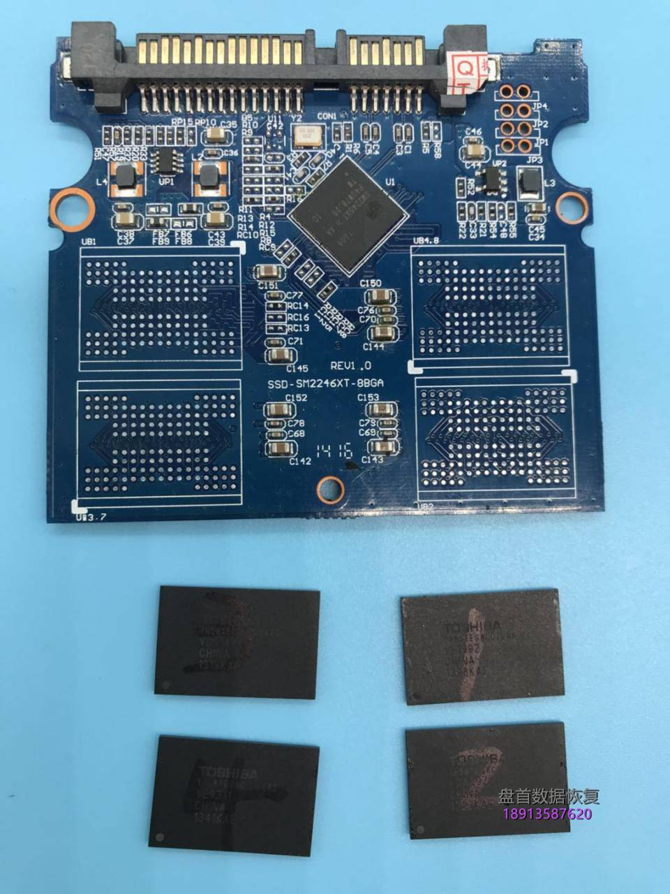 金士顿sv300s37a假的ssd固态硬盘掉盘不识别sm2246xt主控芯片拆芯 金士顿SV300S37A假的SSD固态硬盘掉盘不识别SM2246XT主控芯片拆芯片数据恢复成功